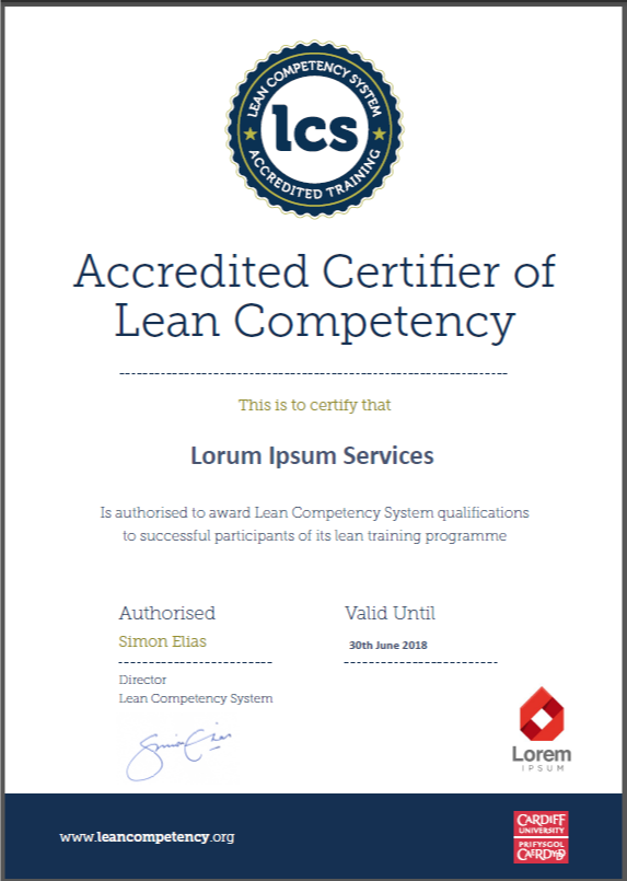 New lcs certificate designs lean competency system for Competency certificate template