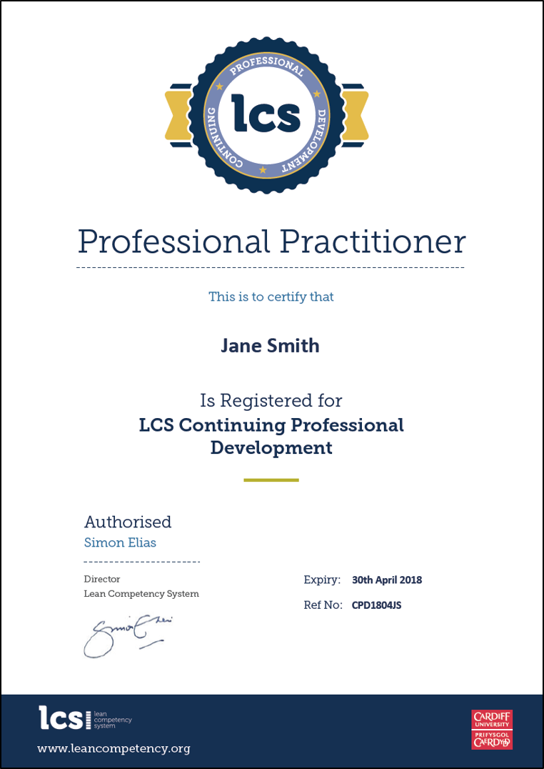 Sample Cpd Certificate 1805 Lean Competency System